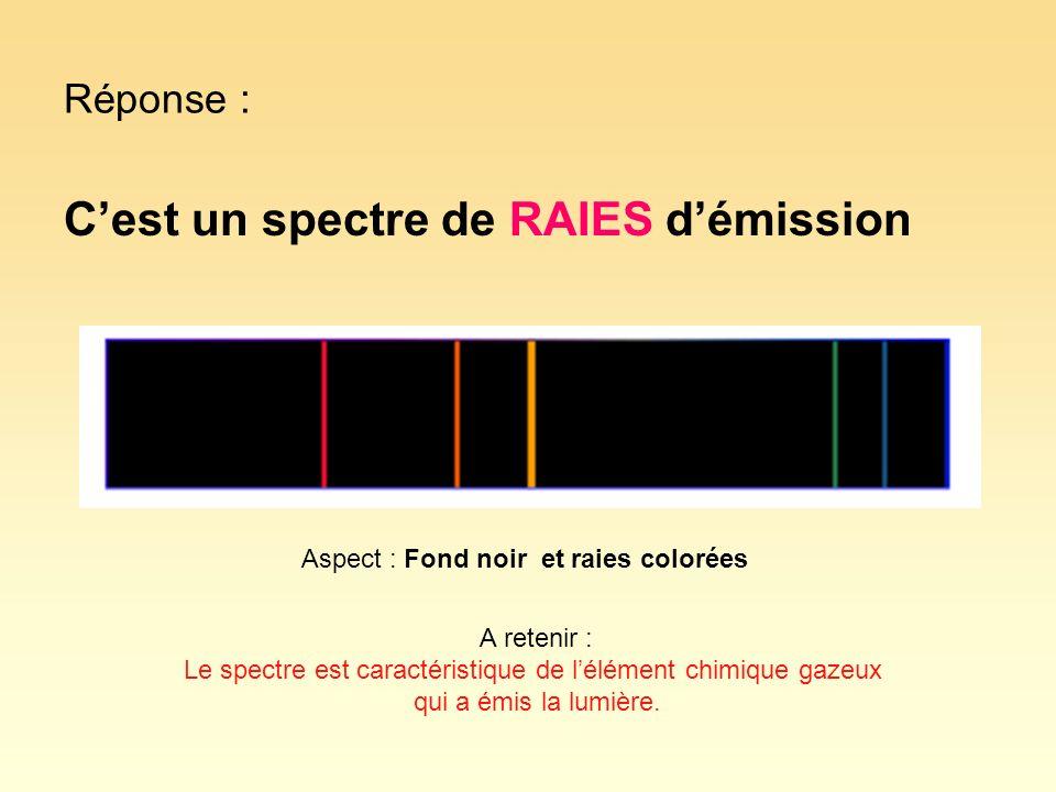 Réponse : Cest un spectre de RAIES démission Aspect : Fond noir et raies colorées A retenir : Le spectre est caractéristique de lélément chimique gaze