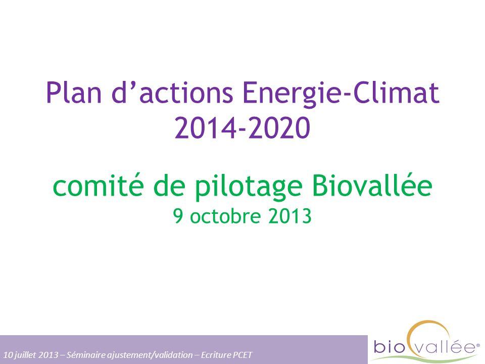 Plan dactions Energie-Climat 2014-2020 comité de pilotage Biovallée 9 octobre 2013 10 juillet 2013 – Séminaire ajustement/validation – Ecriture PCET