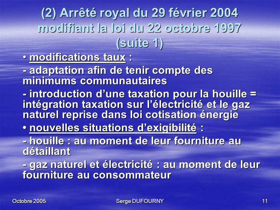 Octobre 2005Serge DUFOURNY11 (2) Arrêté royal du 29 février 2004 modifiant la loi du 22 octobre 1997 (suite 1) modifications taux : modifications taux