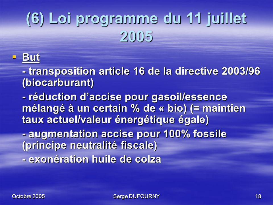Octobre 2005Serge DUFOURNY18 (6) Loi programme du 11 juillet 2005 But But - transposition article 16 de la directive 2003/96 (biocarburant) - réductio