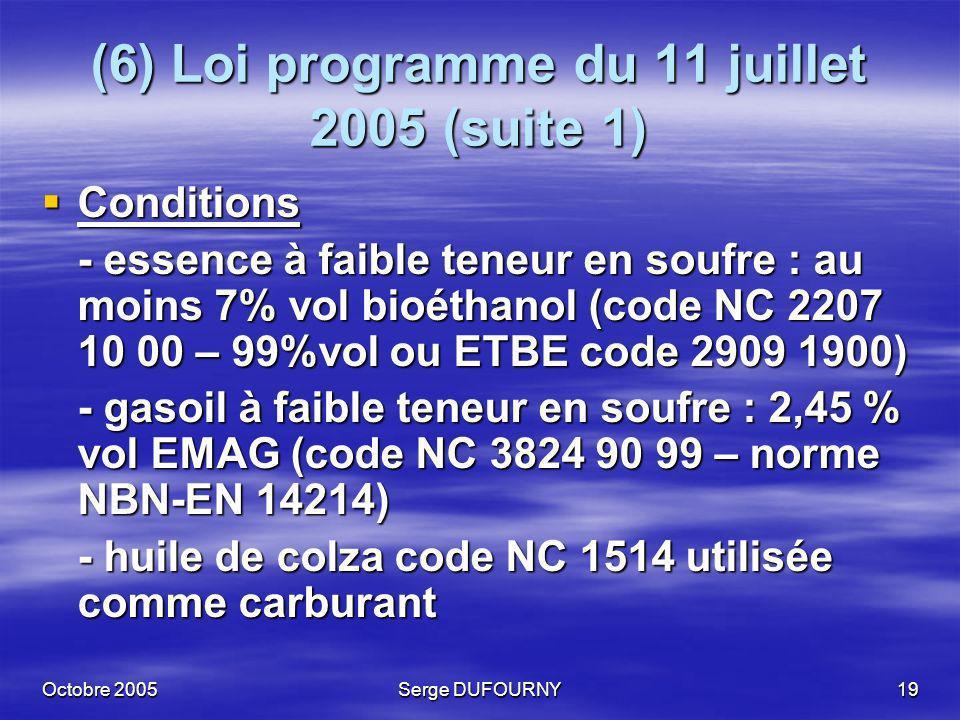 Octobre 2005Serge DUFOURNY19 (6) Loi programme du 11 juillet 2005 (suite 1) Conditions Conditions - essence à faible teneur en soufre : au moins 7% vo