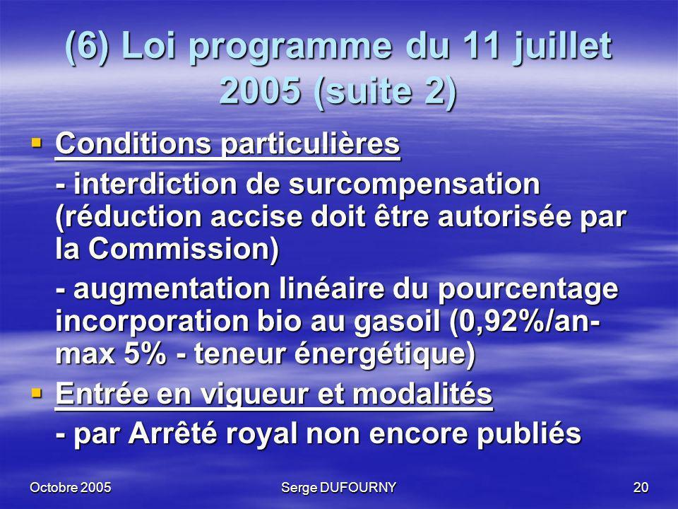 Octobre 2005Serge DUFOURNY20 (6) Loi programme du 11 juillet 2005 (suite 2) Conditions particulières Conditions particulières - interdiction de surcom