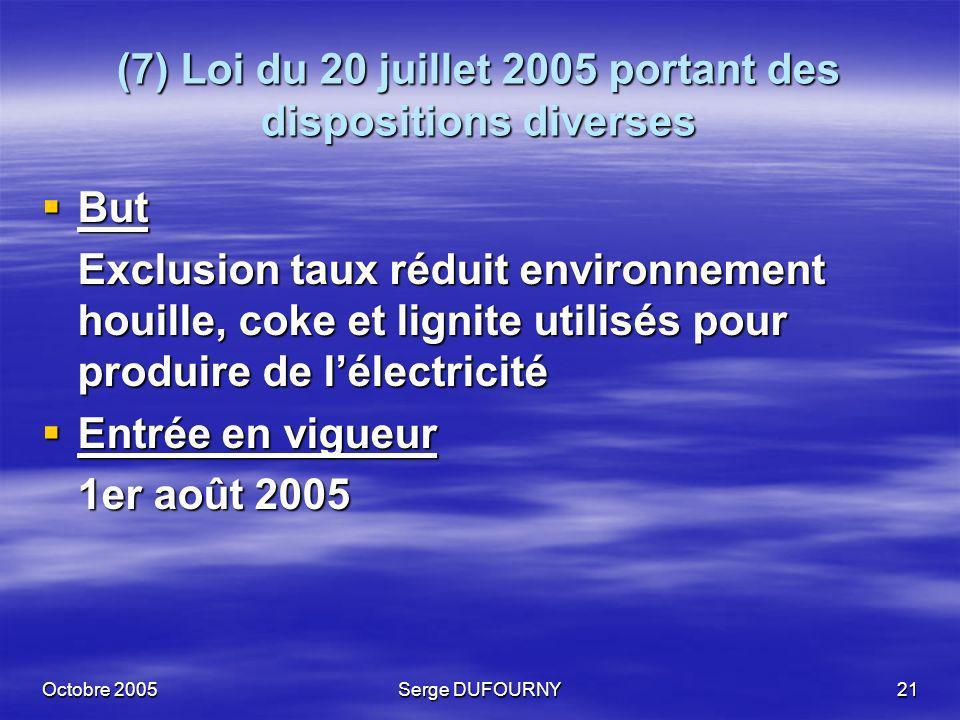 Octobre 2005Serge DUFOURNY21 (7) Loi du 20 juillet 2005 portant des dispositions diverses But But Exclusion taux réduit environnement houille, coke et