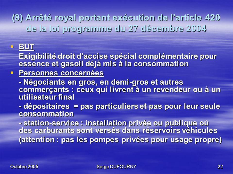 Octobre 2005Serge DUFOURNY22 (8) Arrêté royal portant exécution de larticle 420 de la loi programme du 27 décembre 2004 BUT BUT Exigibilité droit dacc