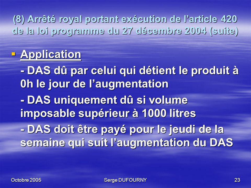 Octobre 2005Serge DUFOURNY23 (8) Arrêté royal portant exécution de larticle 420 de la loi programme du 27 décembre 2004 (suite) Application Applicatio