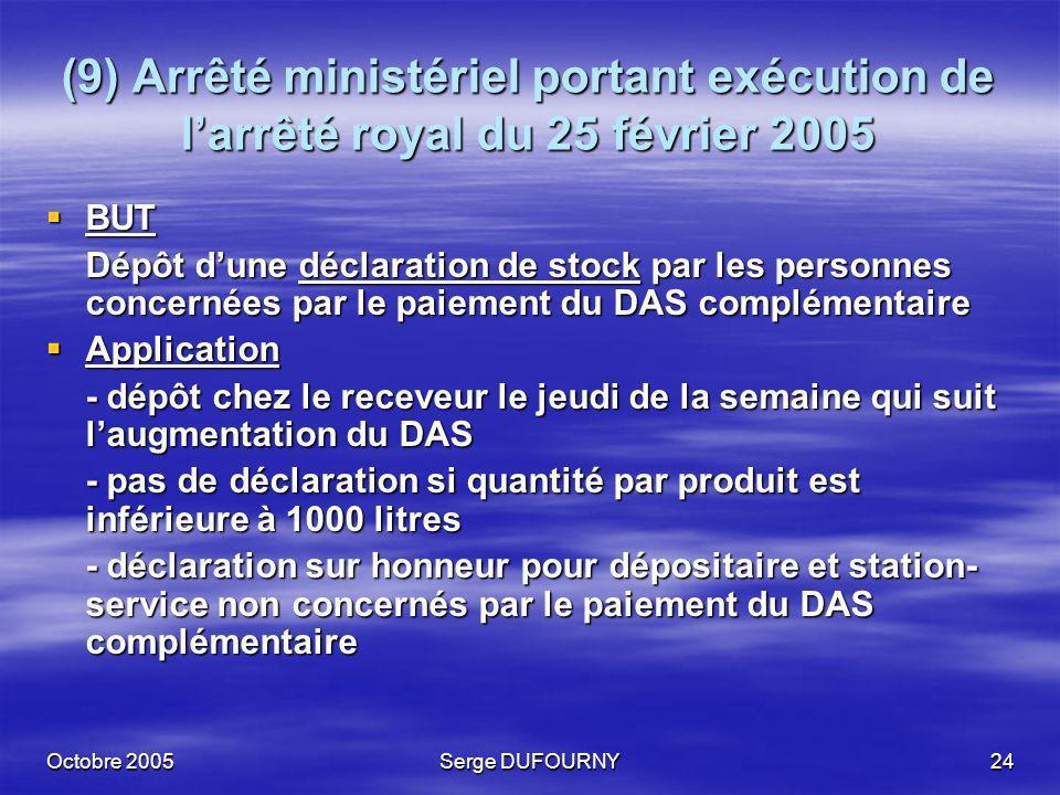 Octobre 2005Serge DUFOURNY24 (9) Arrêté ministériel portant exécution de larrêté royal du 25 février 2005 BUT BUT Dépôt dune déclaration de stock par