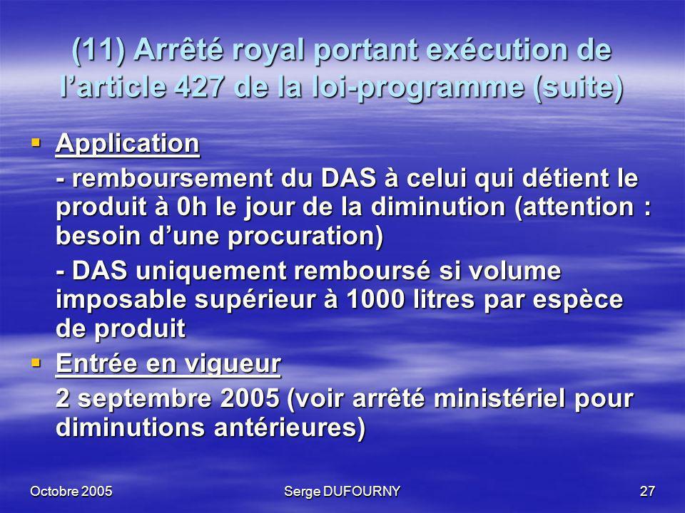 Octobre 2005Serge DUFOURNY27 (11) Arrêté royal portant exécution de larticle 427 de la loi-programme (suite) Application Application - remboursement d