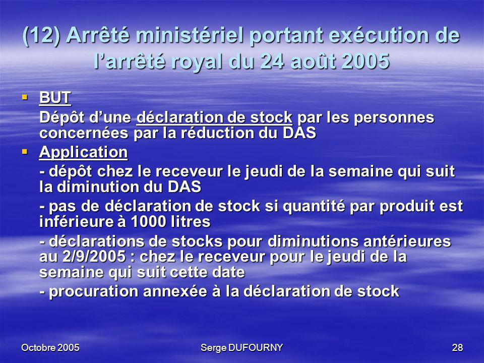 Octobre 2005Serge DUFOURNY28 (12) Arrêté ministériel portant exécution de larrêté royal du 24 août 2005 BUT BUT Dépôt dune déclaration de stock par le