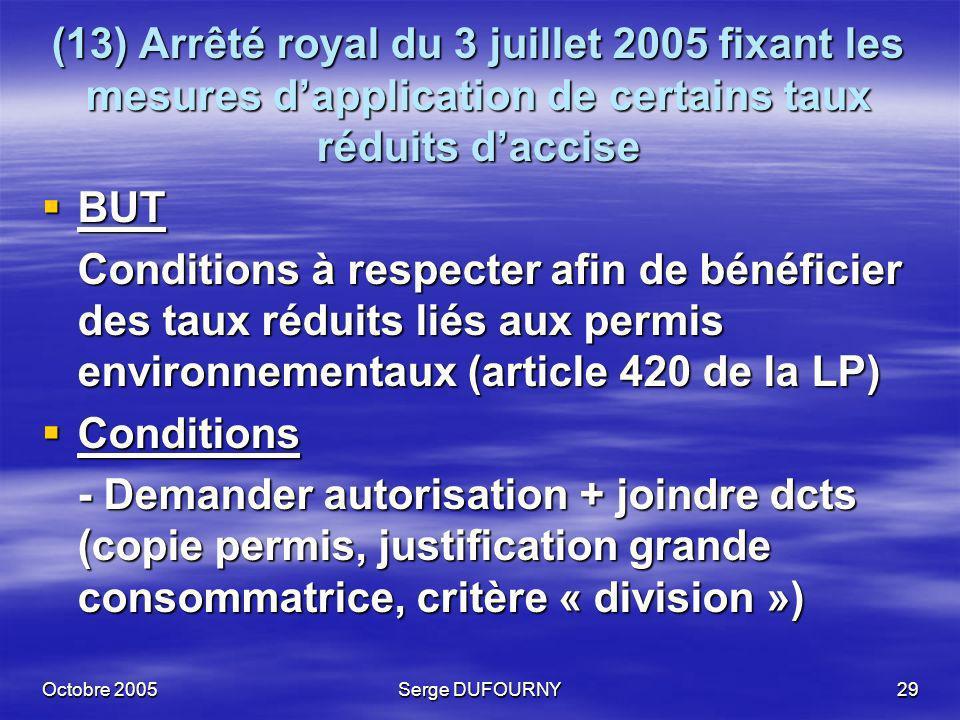 Octobre 2005Serge DUFOURNY29 (13) Arrêté royal du 3 juillet 2005 fixant les mesures dapplication de certains taux réduits daccise BUT BUT Conditions à