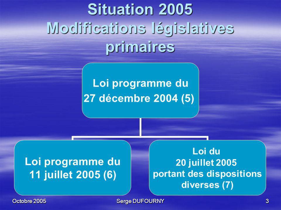 Octobre 2005Serge DUFOURNY4 Modifications législatives secondaires Loi programme du 27 décembre 2004 (5) CLIQUET + Arrêté royal du 25 février 2005 (8) Arrêté ministériel du 28 février 2005 (9) CLIQUET - Arrêté royal du 24 mai 2005 (10) AR (11)+AM (12) du 24 août 2005 Permis Environnement Arrêté royal du 3 juillet 2005 (13)