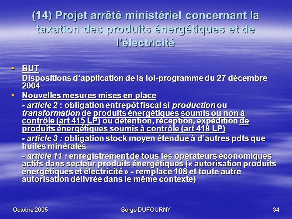 Octobre 2005Serge DUFOURNY34 (14) Projet arrêté ministériel concernant la taxation des produits énergétiques et de lélectricité BUT BUT Dispositions d