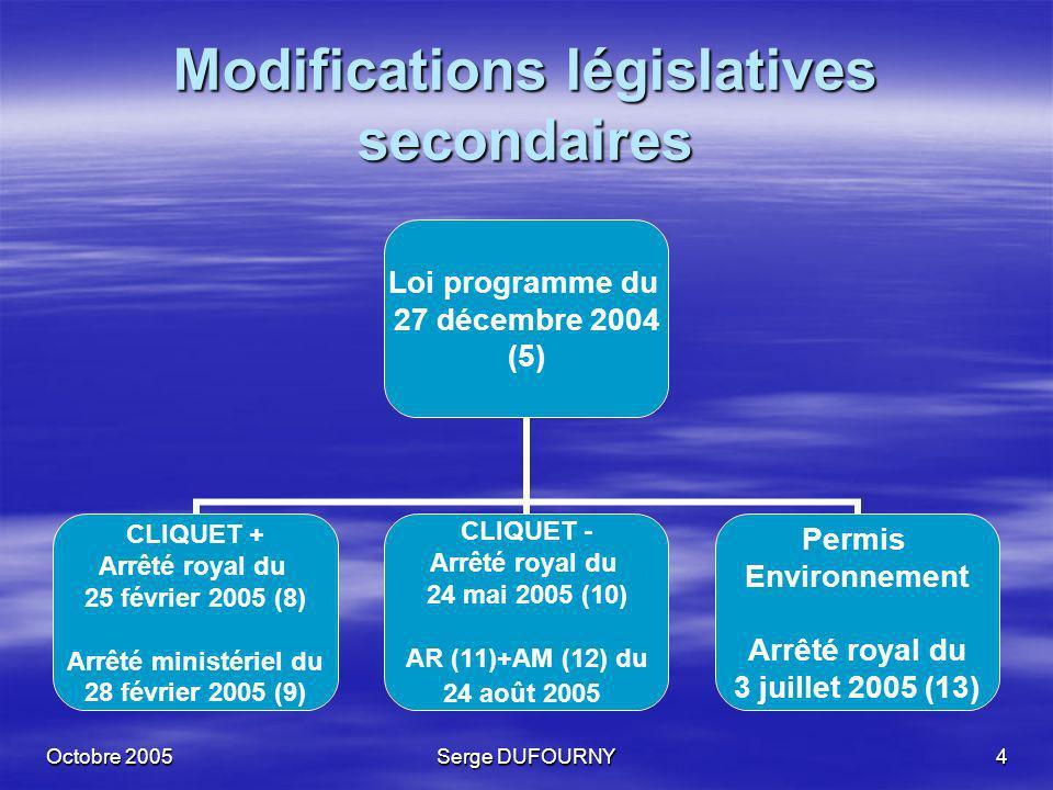 Octobre 2005Serge DUFOURNY5 Législation secondaire en projet Loi programme du 27 décembre 2004 (5) Projet AM (14) taxation des produits énergétiques et de lélectricité (octobre/novembre) Projet AR (15) et AM (16) portant des dispositions diverses (octobre/novembre) + modifications AM du 29/12/92 (délai de paiement) modifications AM du 14/05/05 (mouvements)