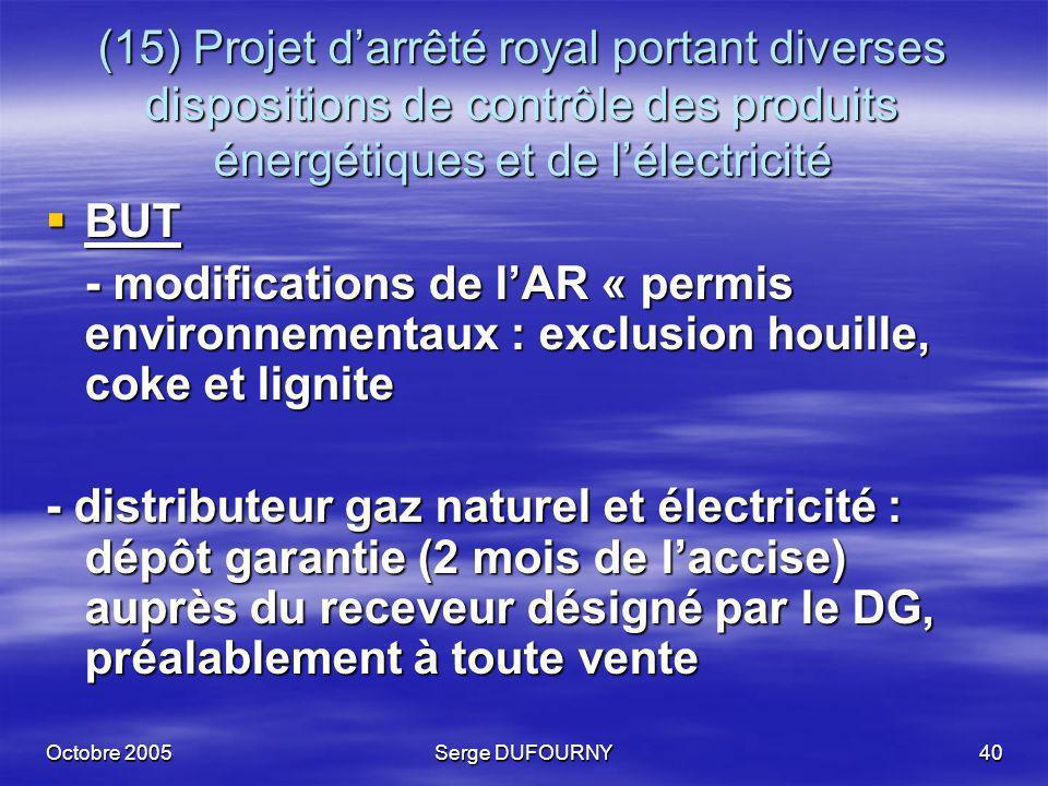 Octobre 2005Serge DUFOURNY40 (15) Projet darrêté royal portant diverses dispositions de contrôle des produits énergétiques et de lélectricité BUT BUT