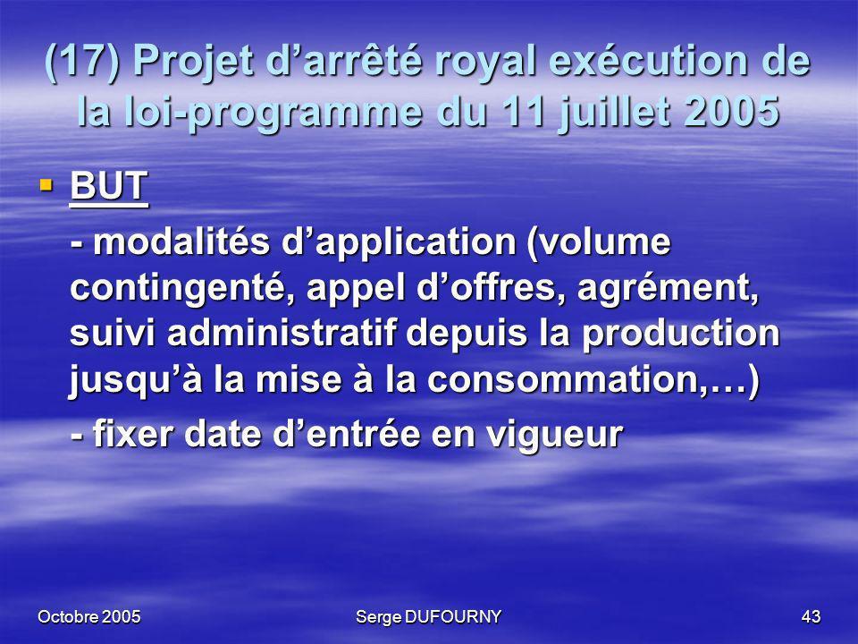 Octobre 2005Serge DUFOURNY43 (17) Projet darrêté royal exécution de la loi-programme du 11 juillet 2005 BUT BUT - modalités dapplication (volume conti