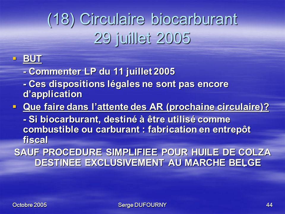Octobre 2005Serge DUFOURNY44 (18) Circulaire biocarburant 29 juillet 2005 BUT BUT - Commenter LP du 11 juillet 2005 - Ces dispositions légales ne sont