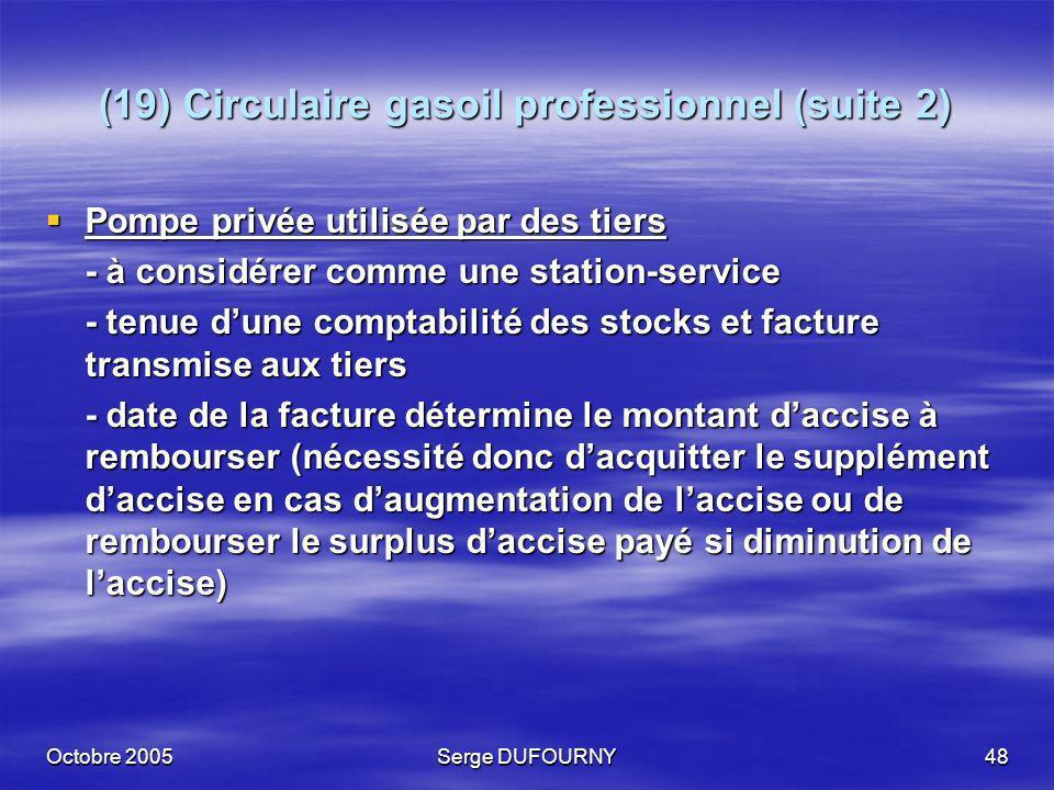 Octobre 2005Serge DUFOURNY48 (19) Circulaire gasoil professionnel (suite 2) Pompe privée utilisée par des tiers Pompe privée utilisée par des tiers -