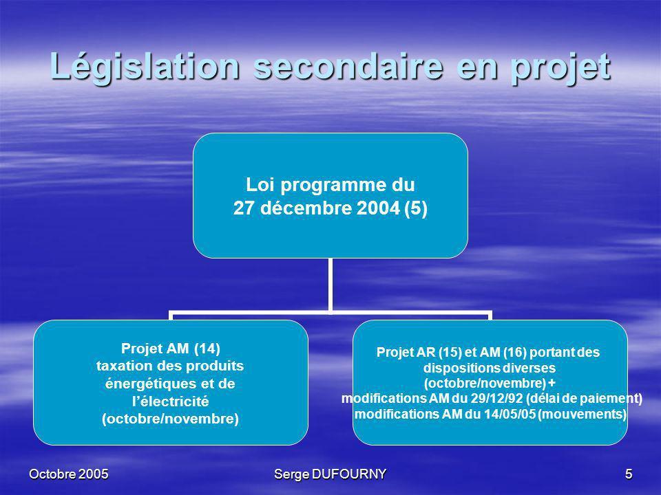 Octobre 2005Serge DUFOURNY6 Législation secondaire en projet Loi programme du 11 juillet 2005 (6) (réduction bio) Projet arrêté royal mesures dapplication et date entrée en vigueur (17) Circulaire « biocarburant » du 29 juillet 2005 (18)