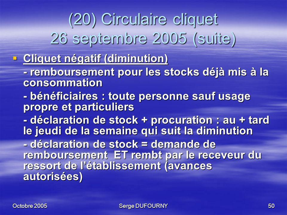 Octobre 2005Serge DUFOURNY50 (20) Circulaire cliquet 26 septembre 2005 (suite) Cliquet négatif (diminution) Cliquet négatif (diminution) - rembourseme