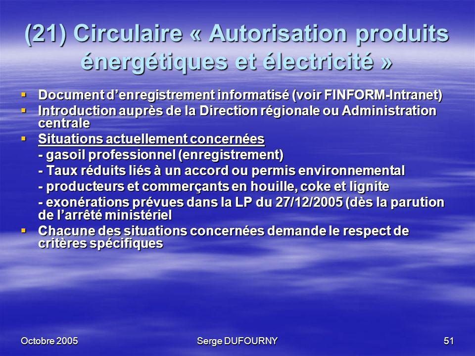 Octobre 2005Serge DUFOURNY51 (21) Circulaire « Autorisation produits énergétiques et électricité » Document denregistrement informatisé (voir FINFORM-