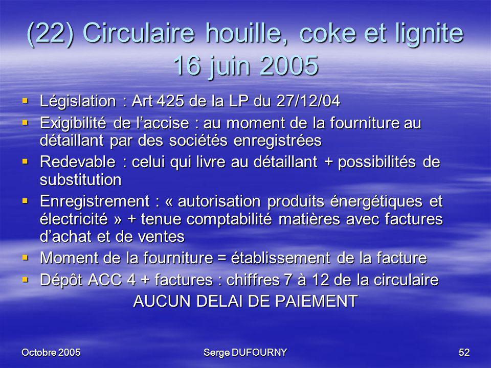 Octobre 2005Serge DUFOURNY52 (22) Circulaire houille, coke et lignite 16 juin 2005 Législation : Art 425 de la LP du 27/12/04 Législation : Art 425 de