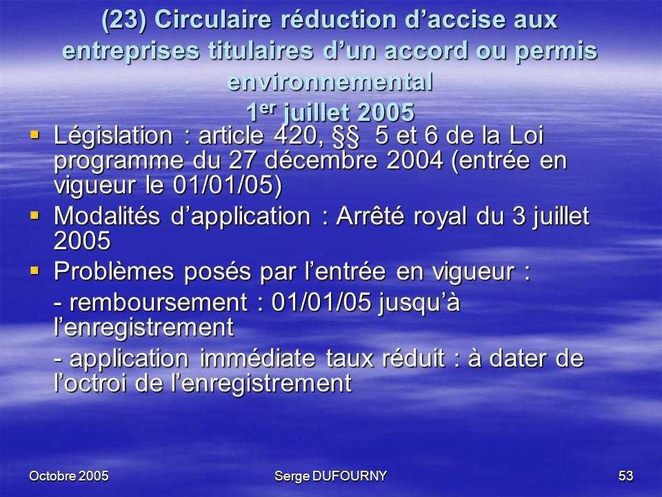 Octobre 2005Serge DUFOURNY53 (23) Circulaire réduction daccise aux entreprises titulaires dun accord ou permis environnemental 1 er juillet 2005 Légis