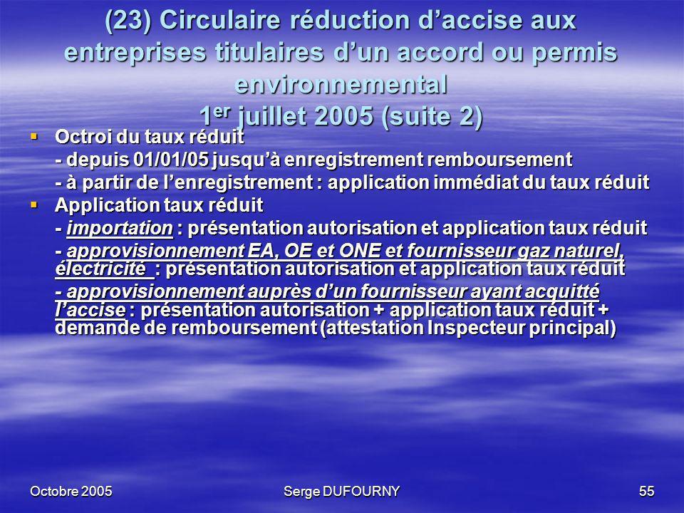 Octobre 2005Serge DUFOURNY55 (23) Circulaire réduction daccise aux entreprises titulaires dun accord ou permis environnemental 1 er juillet 2005 (suit
