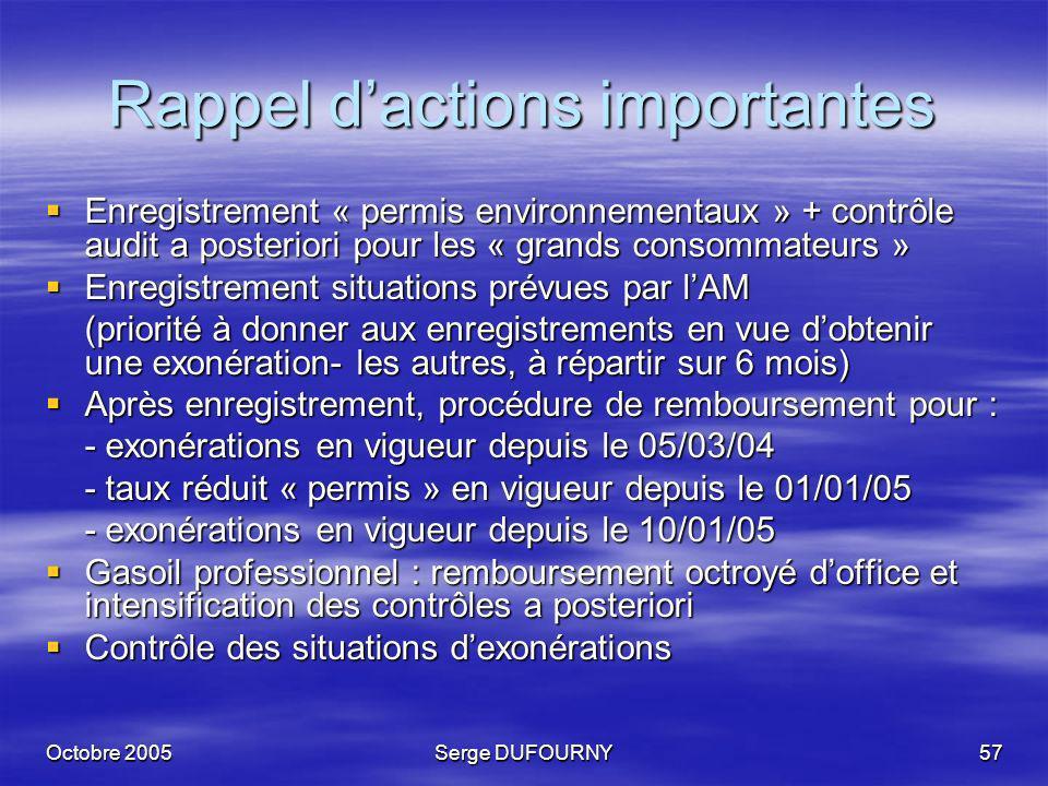 Octobre 2005Serge DUFOURNY57 Rappel dactions importantes Enregistrement « permis environnementaux » + contrôle audit a posteriori pour les « grands co