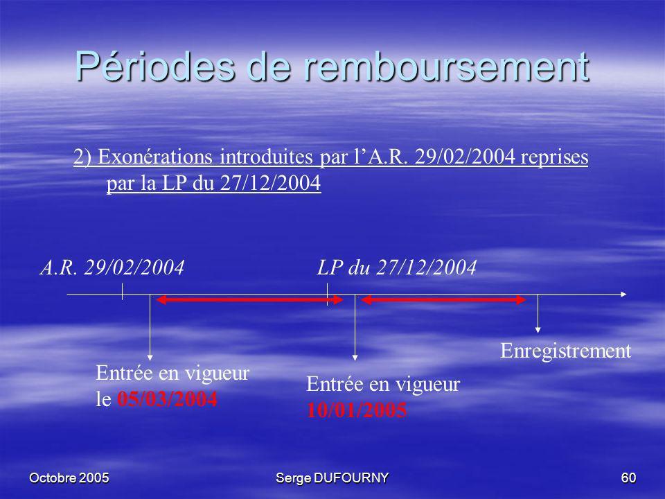 Octobre 2005Serge DUFOURNY60 Périodes de remboursement 2) Exonérations introduites par lA.R. 29/02/2004 reprises par la LP du 27/12/2004 A.R. 29/02/20