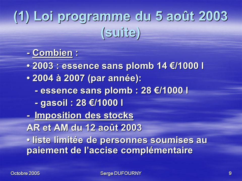 Octobre 2005Serge DUFOURNY9 (1) Loi programme du 5 août 2003 (suite) - Combien : 2003 : essence sans plomb 14 /1000 l 2003 : essence sans plomb 14 /10