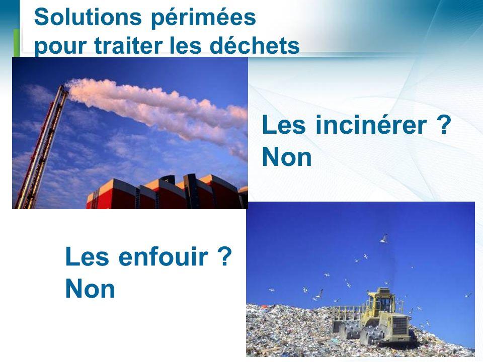 Solutions périmées pour traiter les déchets Les enfouir ? Non Les incinérer ? Non