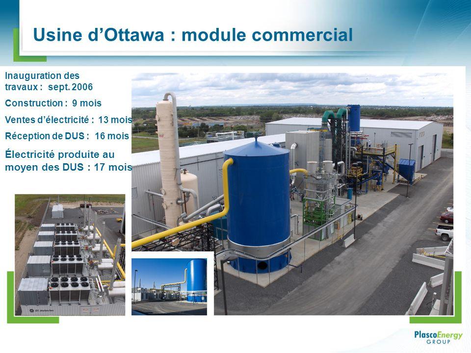 Usine dOttawa : module commercial Inauguration des travaux : sept. 2006 Construction : 9 mois Ventes délectricité : 13 mois Réception de DUS : 16 mois