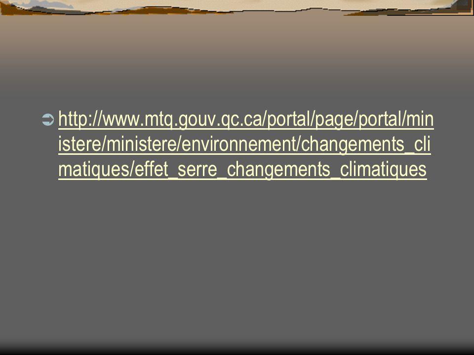 http://www.mtq.gouv.qc.ca/portal/page/portal/min istere/ministere/environnement/changements_cli matiques/effet_serre_changements_climatiques http://www.mtq.gouv.qc.ca/portal/page/portal/min istere/ministere/environnement/changements_cli matiques/effet_serre_changements_climatiques