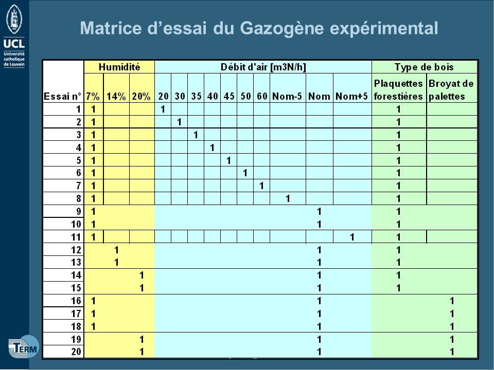 Projet Megazo 11 Matrice dessai du Gazogène expérimental