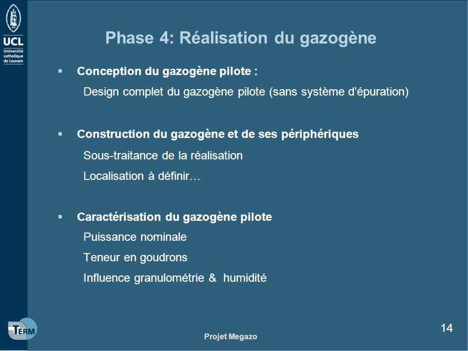 Projet Megazo 14 Phase 4: Réalisation du gazogène Conception du gazogène pilote : Design complet du gazogène pilote (sans système dépuration) Construc