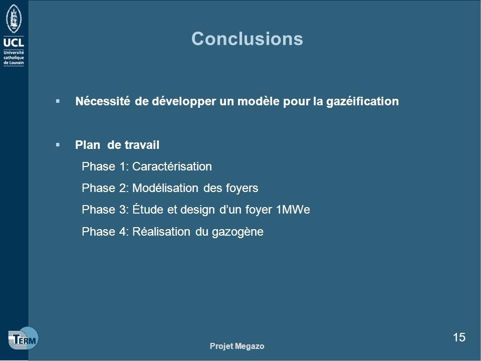 Projet Megazo 15 Conclusions Nécessité de développer un modèle pour la gazéification Plan de travail Phase 1: Caractérisation Phase 2: Modélisation de