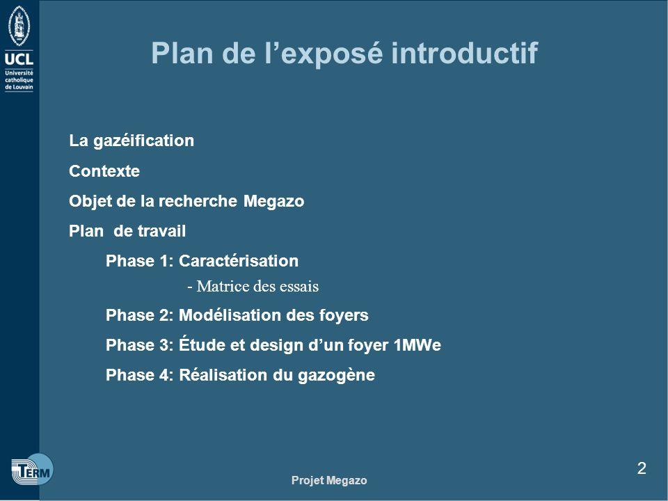 Projet Megazo 2 Plan de lexposé introductif La gazéification Contexte Objet de la recherche Megazo Plan de travail Phase 1: Caractérisation - Matrice