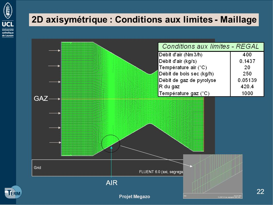 Projet Megazo 22 2D axisymétrique : Conditions aux limites - Maillage AIR GAZ