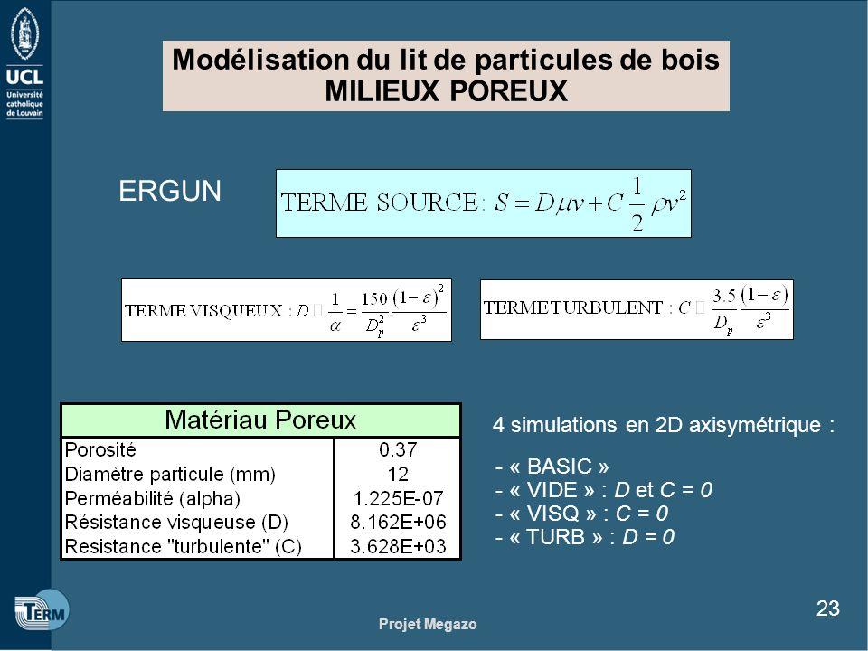 Projet Megazo 23 Modélisation du lit de particules de bois MILIEUX POREUX ERGUN 4 simulations en 2D axisymétrique : - « BASIC » - « VIDE » : D et C =