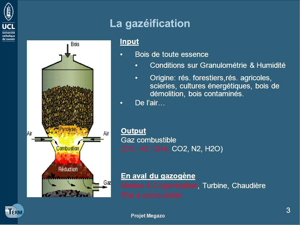 Projet Megazo 3 La gazéification Input Bois de toute essence Conditions sur Granulométrie & Humidité Origine: rés. forestiers,rés. agricoles, scieries