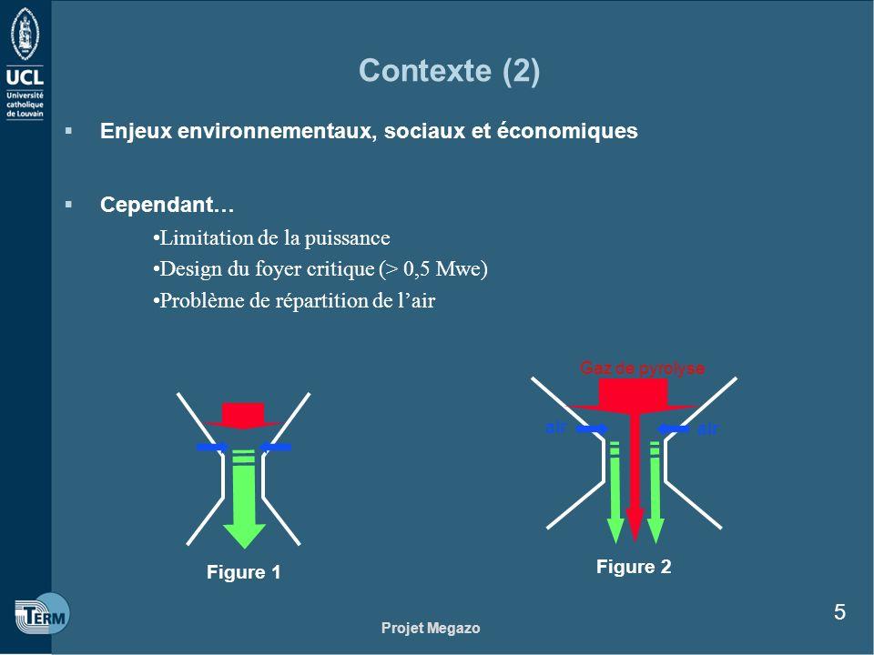 Projet Megazo 5 Contexte (2) Enjeux environnementaux, sociaux et économiques Cependant… Limitation de la puissance Design du foyer critique (> 0,5 Mwe