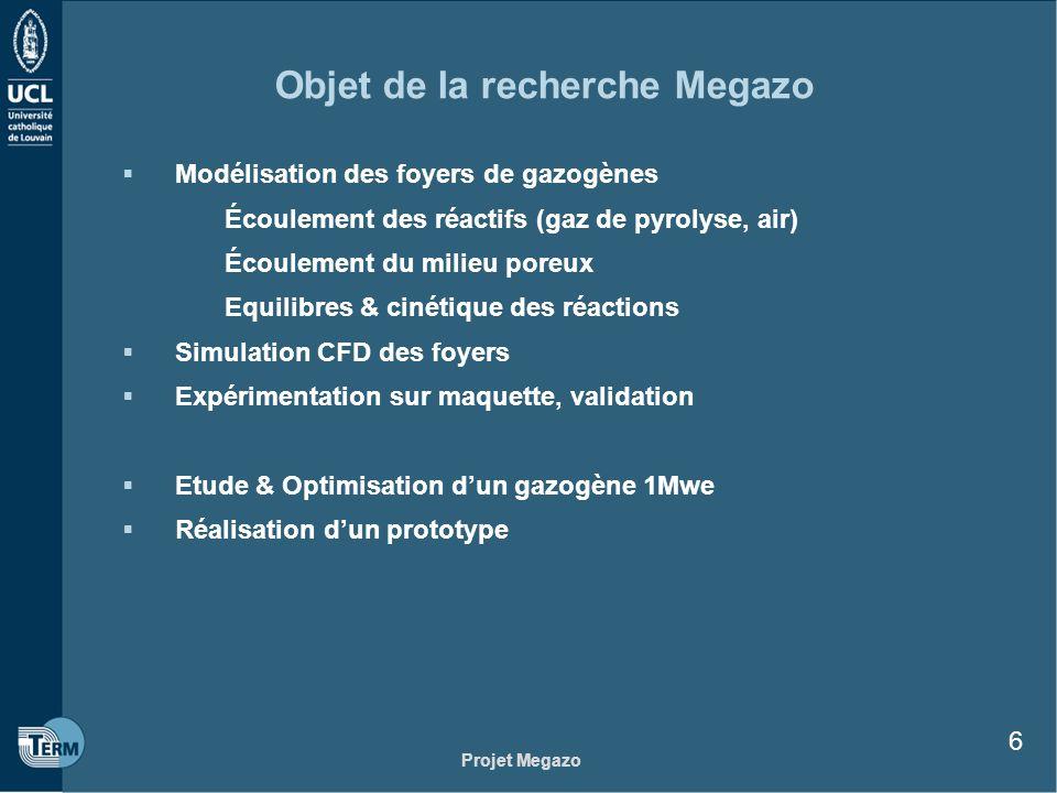 Projet Megazo 6 Objet de la recherche Megazo Modélisation des foyers de gazogènes Écoulement des réactifs (gaz de pyrolyse, air) Écoulement du milieu