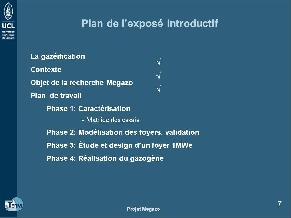 Projet Megazo 7 Plan de lexposé introductif La gazéification Contexte Objet de la recherche Megazo Plan de travail Phase 1: Caractérisation - Matrice
