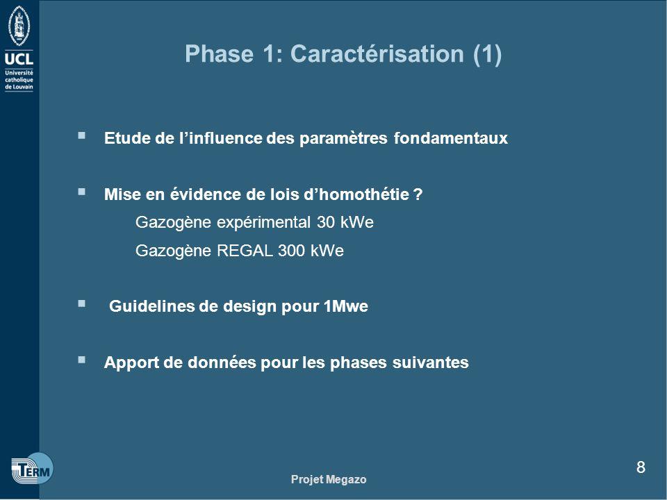 Projet Megazo 8 Phase 1: Caractérisation (1) Etude de linfluence des paramètres fondamentaux Mise en évidence de lois dhomothétie ? Gazogène expérimen