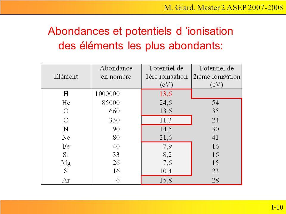 M. Giard, Master 2 ASEP 2007-2008 I-10 Abondances et potentiels d ionisation des éléments les plus abondants: