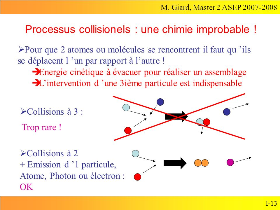 M. Giard, Master 2 ASEP 2007-2008 I-13 Processus collisionels : une chimie improbable ! Pour que 2 atomes ou molécules se rencontrent il faut qu ils s