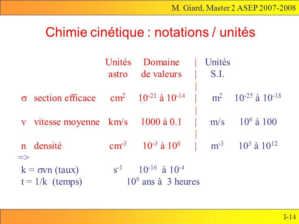 M. Giard, Master 2 ASEP 2007-2008 I-14 UnitésDomaine|Unités astro de valeurs|S.I. | section efficacecm 2 10 -21 à 10 -14 |m 2 10 -25 à 10 -18 | v vite