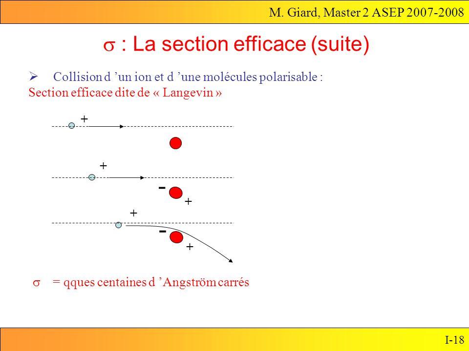 M. Giard, Master 2 ASEP 2007-2008 I-18 Collision d un ion et d une molécules polarisable : Section efficace dite de « Langevin » : La section efficace