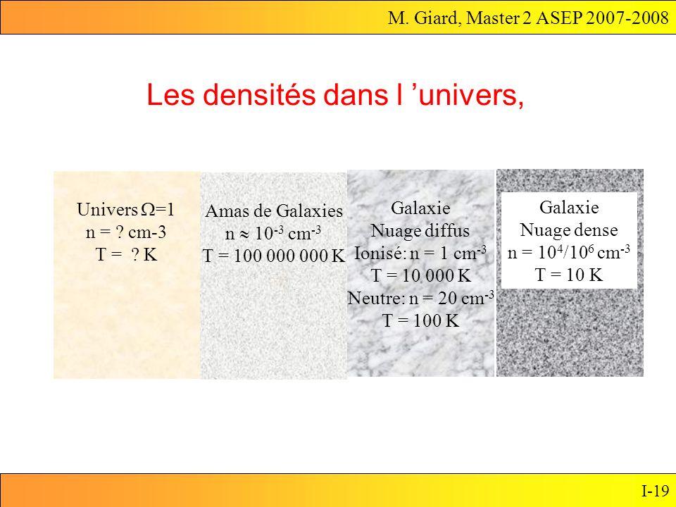 M. Giard, Master 2 ASEP 2007-2008 I-19 Les densités dans l univers, Univers =1 n = ? cm-3 T = ? K Amas de Galaxies n 10 -3 cm -3 T = 100 000 000 K Gal