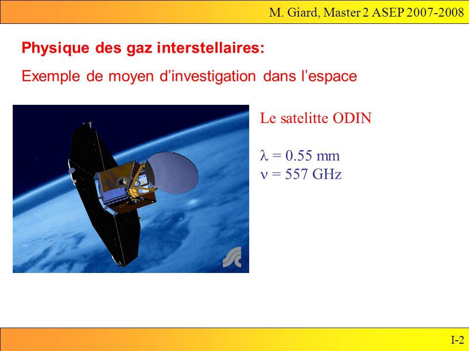 M. Giard, Master 2 ASEP 2007-2008 I-2 Physique des gaz interstellaires: Exemple de moyen dinvestigation dans lespace Le satelitte ODIN = 0.55 mm = 557