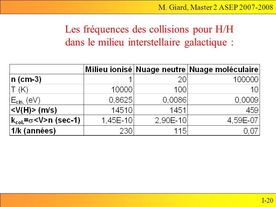 M. Giard, Master 2 ASEP 2007-2008 I-20 Les fréquences des collisions pour H/H dans le milieu interstellaire galactique :